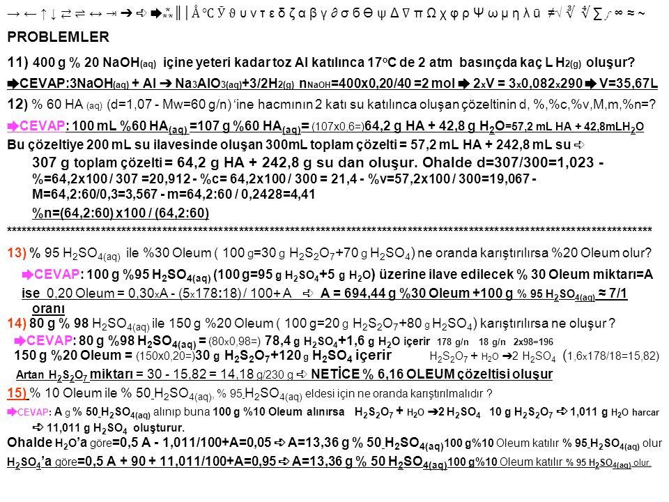→ ← ↑ ↓ ⇄ ⇌ ↔ ⇥ ➔ ➪ ➨⁂ ║│ Å ℃ Ӯ ϑ υ ν τ ε δ ζ α β γ ∂ σ б Ө ψ Δ ∇ π Ω χ φ ρ Ψ ω μ η λ ū ≠√ ∛ ∜ ∑ ∫ ∞ ≈ ~ PROBLEMLER 11) 400 g % 20 NaOH (aq) içine yet