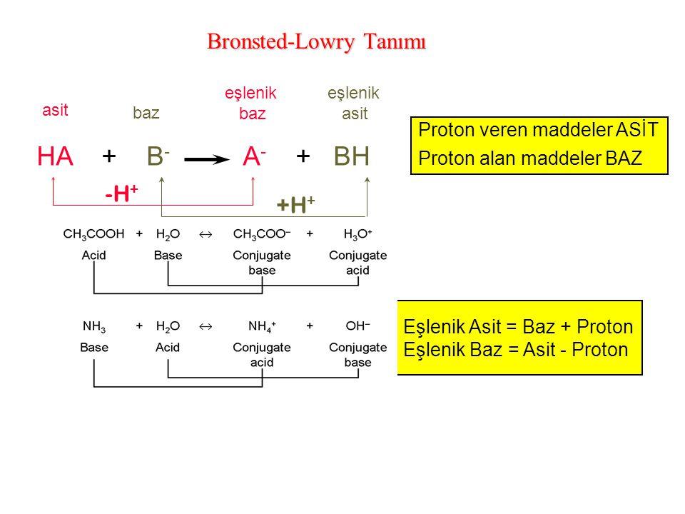 Bronsted-Lowry Tanımı HA + B - A - + BH asit baz eşlenik baz eşlenik asit +H + -H + Eşlenik Asit = Baz + Proton Eşlenik Baz = Asit - Proton Proton ver