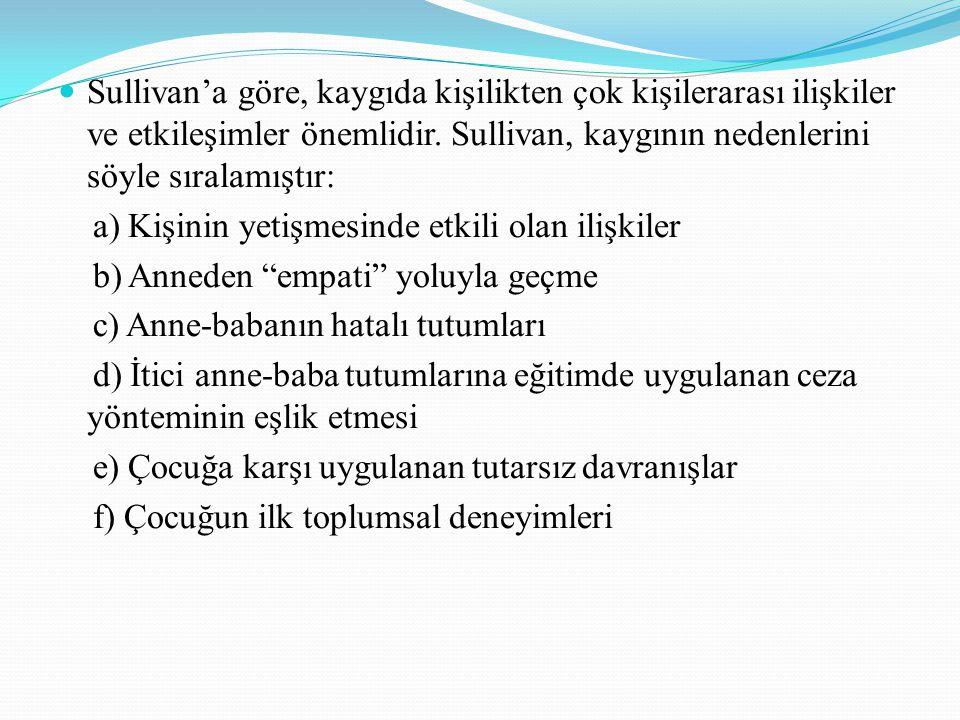 Sullivan'a göre, kaygıda kişilikten çok kişilerarası ilişkiler ve etkileşimler önemlidir. Sullivan, kaygının nedenlerini söyle sıralamıştır: a) Kişini