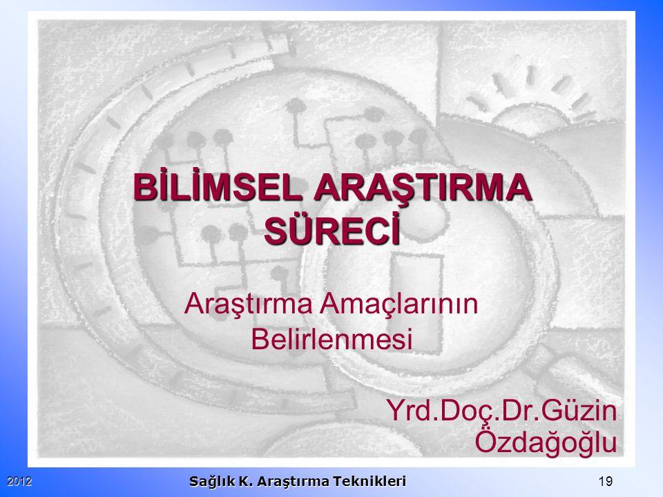 192012 Sağlık K. Araştırma Teknikleri BİLİMSEL ARAŞTIRMA SÜRECİ Araştırma Amaçlarının Belirlenmesi Yrd.Doç.Dr.Güzin Özdağoğlu