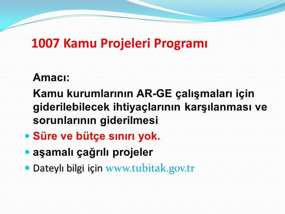 1007 Kamu Projeleri Programı Amacı: Kamu kurumlarının AR-GE çalışmaları için giderilebilecek ihtiyaçlarının karşılanması ve sorunlarının giderilmesi S