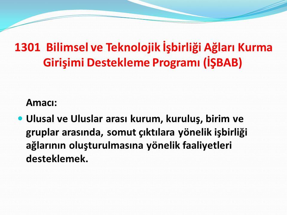 1301 Bilimsel ve Teknolojik İşbirliği Ağları Kurma Girişimi Destekleme Programı (İŞBAB) Amacı: Ulusal ve Uluslar arası kurum, kuruluş, birim ve grupla