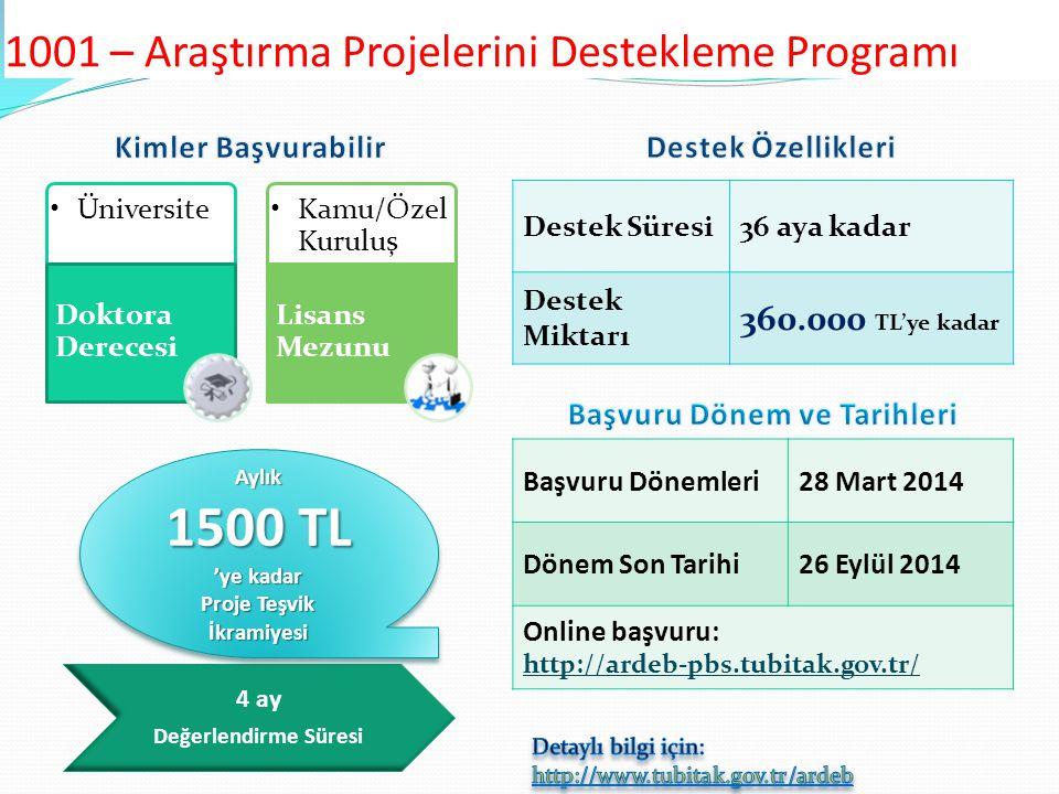 1001 – Araştırma Projelerini Destekleme Programı Destek Süresi36 aya kadar Destek Miktarı 360.000 TL'ye kadar Başvuru Dönemleri28 Mart 2014 Dönem Son