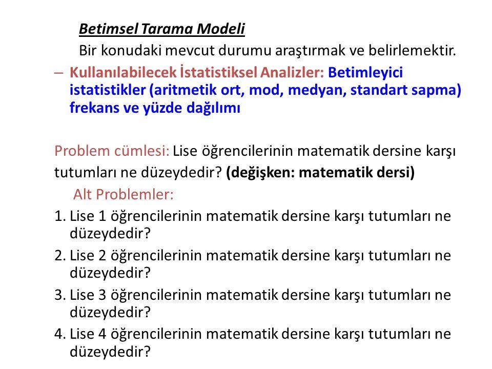 Betimsel Tarama Modeli Bir konudaki mevcut durumu araştırmak ve belirlemektir. – Kullanılabilecek İstatistiksel Analizler: Betimleyici istatistikler (