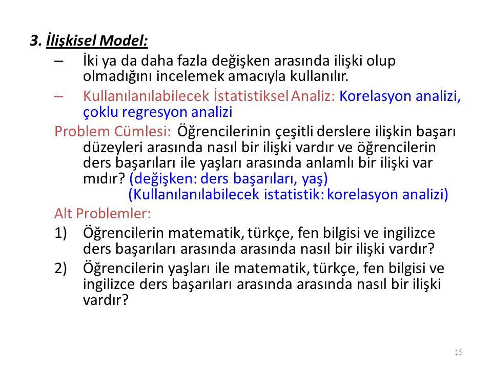 3. İlişkisel Model: – İki ya da daha fazla değişken arasında ilişki olup olmadığını incelemek amacıyla kullanılır. – Kullanılanılabilecek İstatistikse