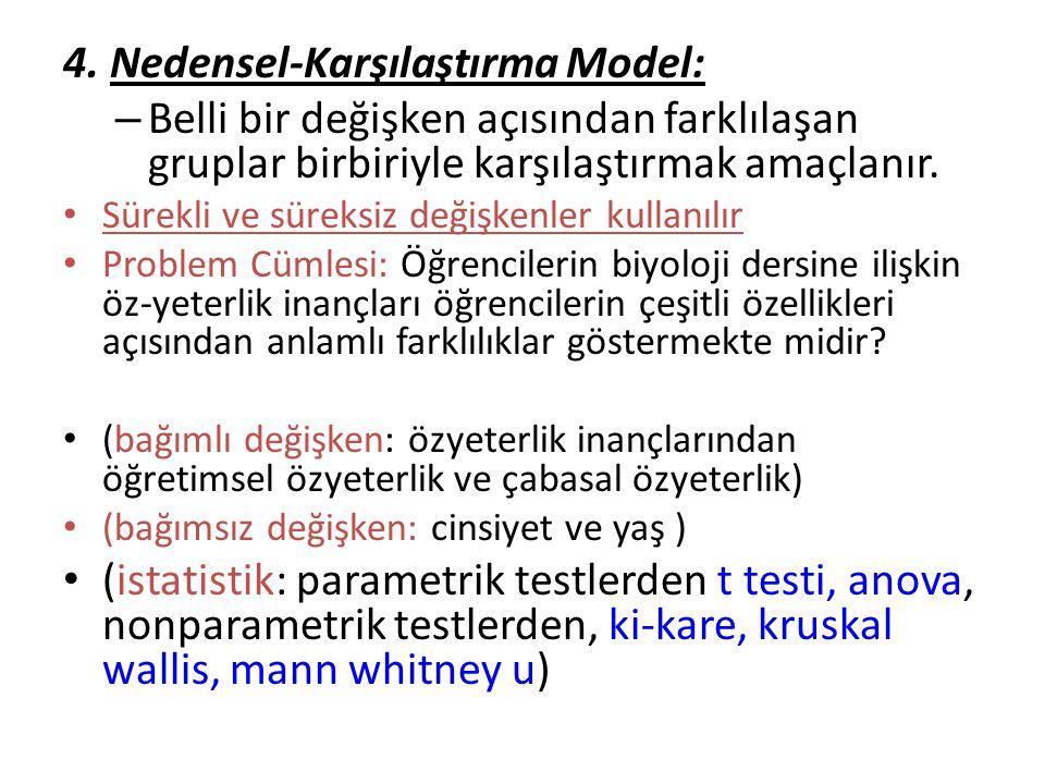 4. Nedensel-Karşılaştırma Model: – Belli bir değişken açısından farklılaşan gruplar birbiriyle karşılaştırmak amaçlanır. Sürekli ve süreksiz değişkenl