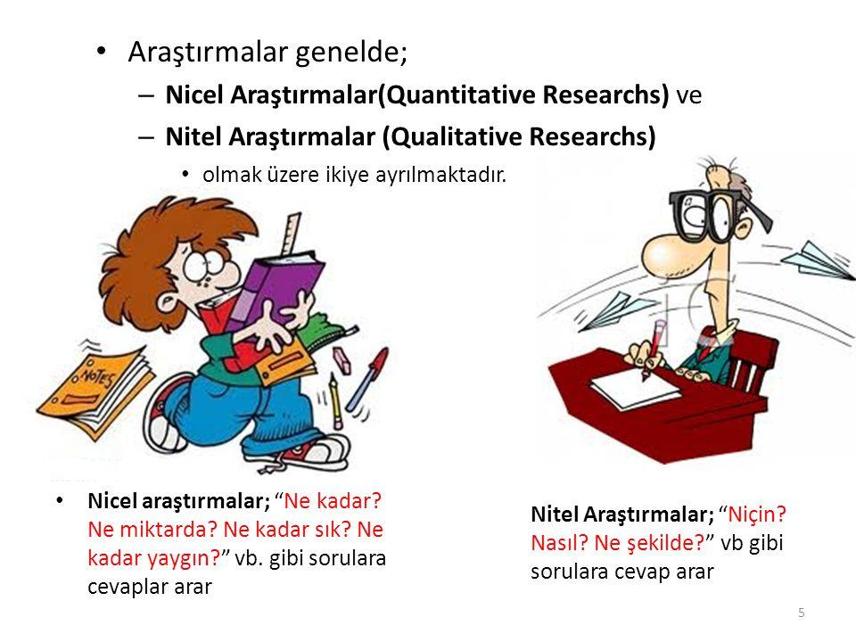 Araştırmalar genelde; – Nicel Araştırmalar(Quantitative Researchs) ve – Nitel Araştırmalar (Qualitative Researchs) olmak üzere ikiye ayrılmaktadır. Ni