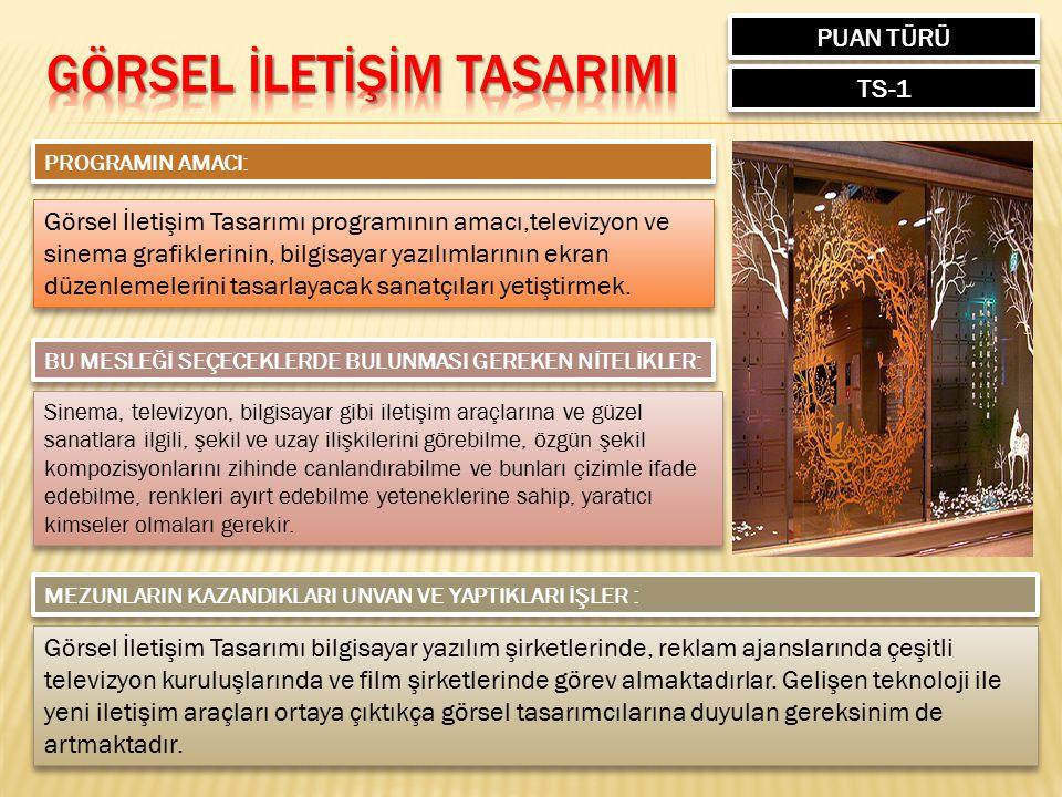 PUAN TÜRÜ TS-1 PROGRAMIN AMACI: Görsel İletişim Tasarımı programının amacı,televizyon ve sinema grafiklerinin, bilgisayar yazılımlarının ekran düzenle