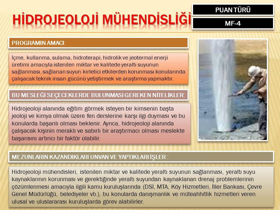 PUAN TÜRÜ MF-4 PROGRAMIN AMACI: İçme, kullanma, sulama, hidroterapi, hidrolik ve jeotermal enerji üretimi amacıyla istenilen miktar ve kalitede yeralt