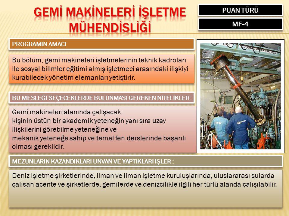 PUAN TÜRÜ MF-4 PROGRAMIN AMACI: Bu bölüm, gemi makineleri işletmelerinin teknik kadroları ile sosyal bilimler eğitimi almış işletmeci arasındaki ilişk