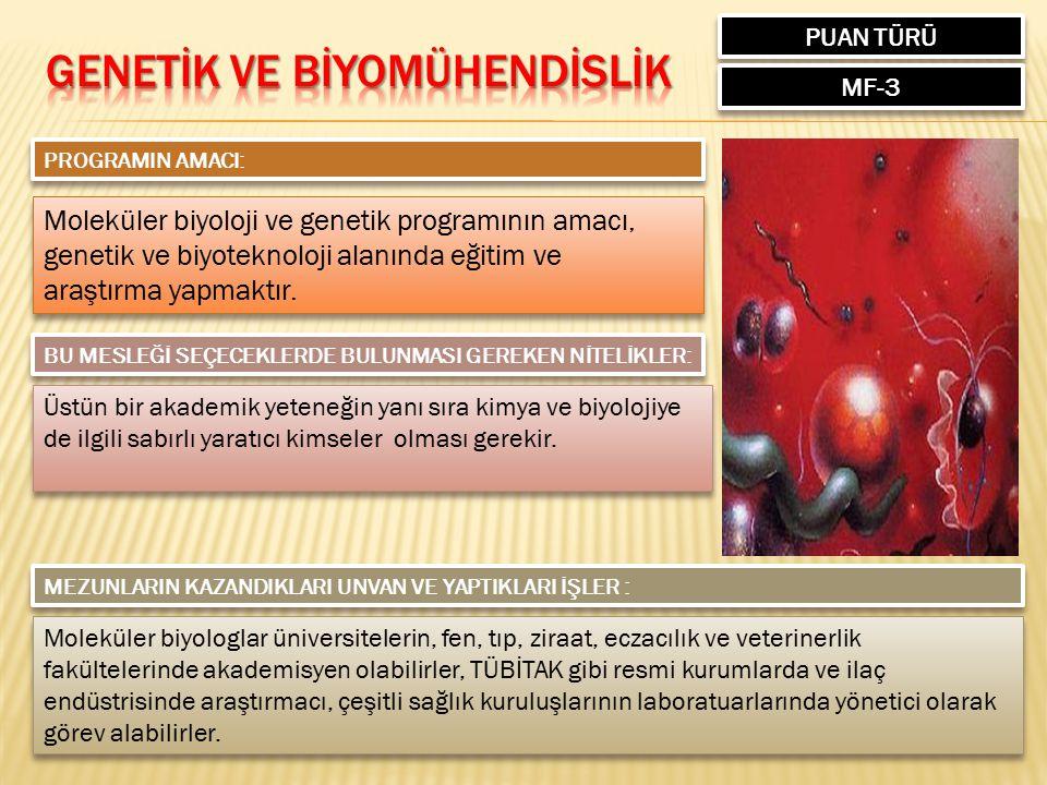 PUAN TÜRÜ MF-3 PROGRAMIN AMACI: Moleküler biyoloji ve genetik programının amacı, genetik ve biyoteknoloji alanında eğitim ve araştırma yapmaktır. Mole
