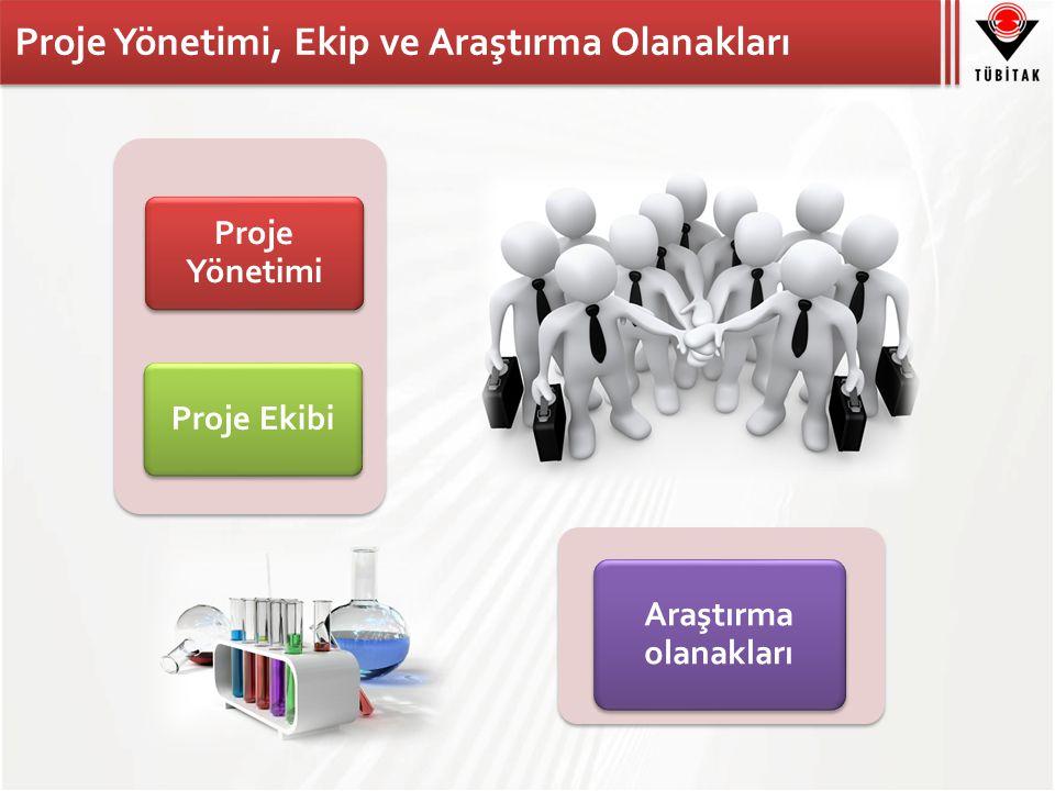 Proje Yönetimi, Ekip ve Araştırma Olanakları Proje Yönetimi Proje Ekibi Araştırma olanakları