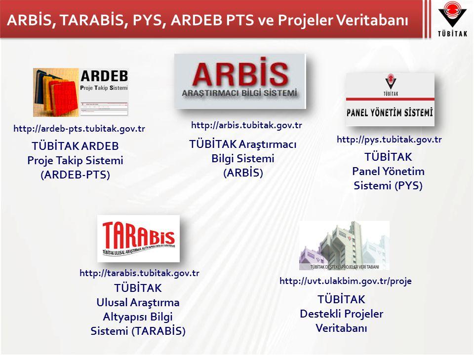 ARBİS, TARABİS, PYS, ARDEB PTS ve Projeler Veritabanı TÜBİTAK Ulusal Araştırma Altyapısı Bilgi Sistemi (TARABİS) http://tarabis.tubitak.gov.tr TÜBİTAK