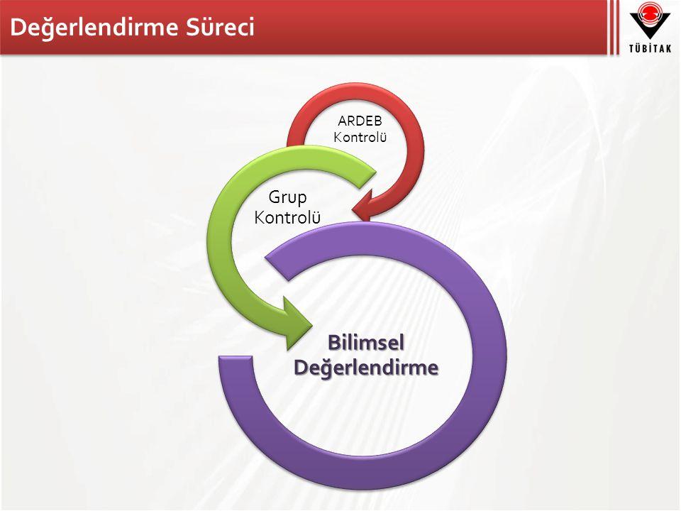 Değerlendirme Süreci ARDEB Kontrolü Grup Kontrolü Bilimsel Değerlendirme