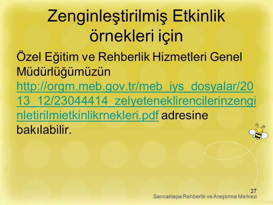 Zenginleştirilmiş Etkinlik örnekleri için Özel Eğitim ve Rehberlik Hizmetleri Genel Müdürlüğümüzün http://orgm.meb.gov.tr/meb_iys_dosyalar/20 13_12/23