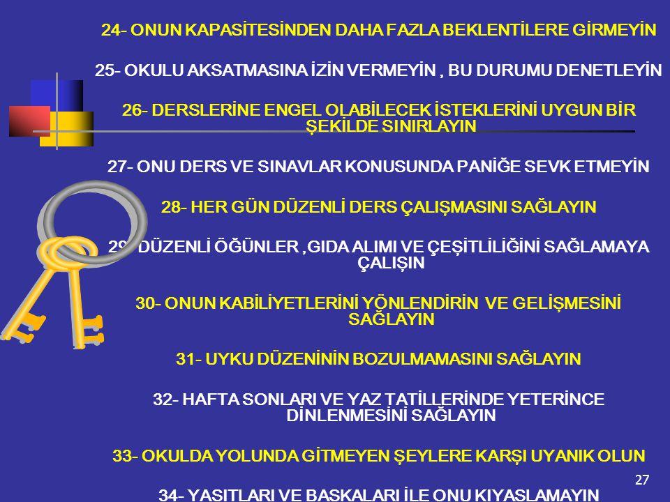 27 24- ONUN KAPASİTESİNDEN DAHA FAZLA BEKLENTİLERE GİRMEYİN 25- OKULU AKSATMASINA İZİN VERMEYİN, BU DURUMU DENETLEYİN 26- DERSLERİNE ENGEL OLABİLECEK