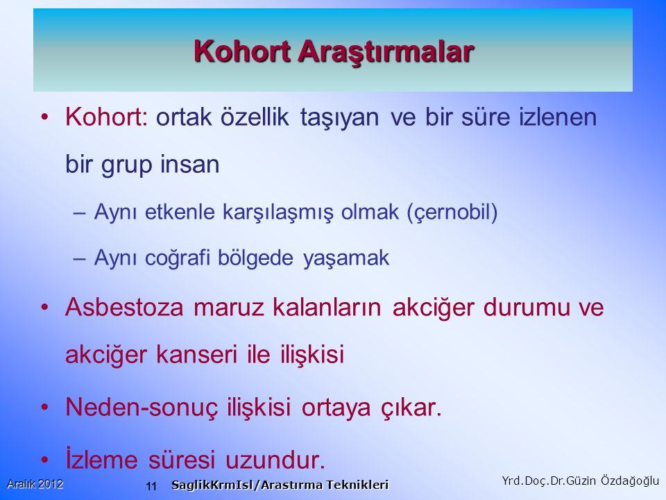 12 Aralık 2012 SaglikKrmIsl/Arastırma Teknikleri Yrd.Doç.Dr.Güzin Özdağoğlu