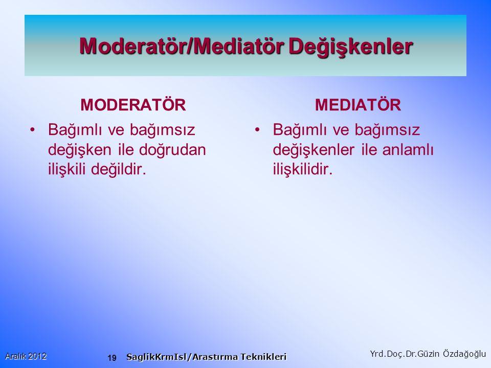 19 Aralık 2012 SaglikKrmIsl/Arastırma Teknikleri Yrd.Doç.Dr.Güzin Özdağoğlu Moderatör/Mediatör Değişkenler MODERATÖR Bağımlı ve bağımsız değişken ile doğrudan ilişkili değildir.