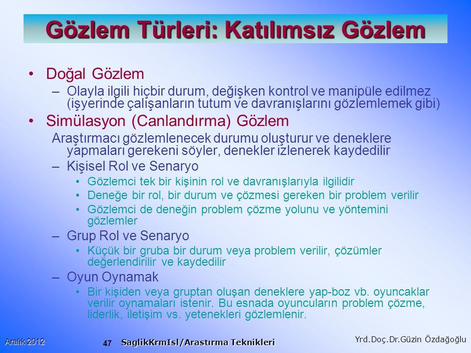 48 Aralık 2012 SaglikKrmIsl/Arastırma Teknikleri Yrd.Doç.Dr.Güzin Özdağoğlu Gözlem Türleri: Katılımlı Gözlem Araştırmacı, gözlemlenen durumun içerisinde katılımcı olarak yer alır.