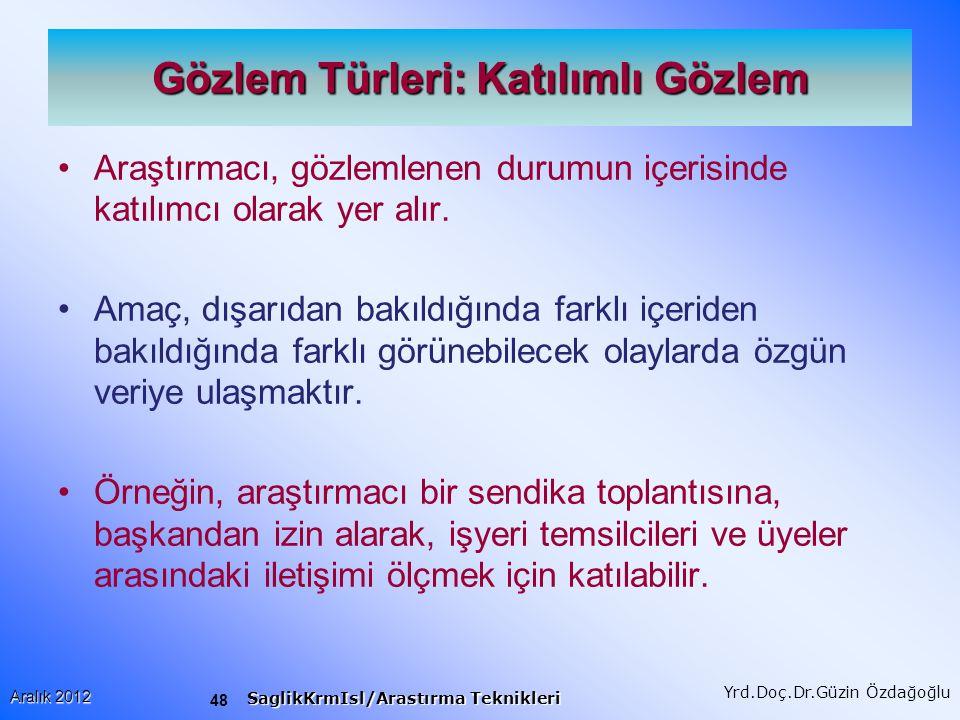 49 Aralık 2012 SaglikKrmIsl/Arastırma Teknikleri Yrd.Doç.Dr.Güzin Özdağoğlu Gözlem: Değişkenler I Her durumu kaydetmek mümkün değildir.