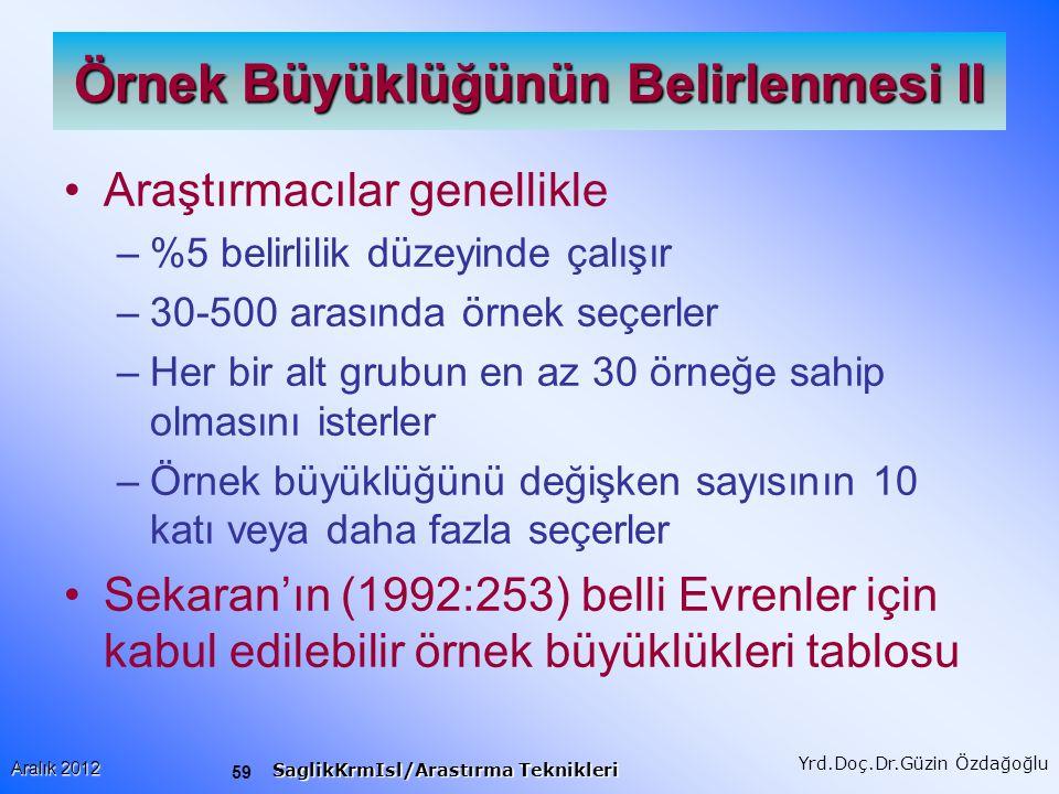60 Aralık 2012 SaglikKrmIsl/Arastırma Teknikleri Yrd.Doç.Dr.Güzin Özdağoğlu