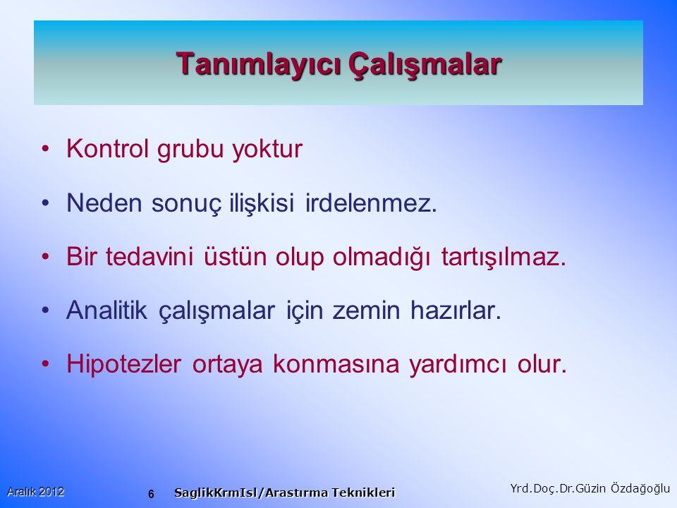 6 Aralık 2012 SaglikKrmIsl/Arastırma Teknikleri Yrd.Doç.Dr.Güzin Özdağoğlu Tanımlayıcı Çalışmalar Kontrol grubu yoktur Neden sonuç ilişkisi irdelenmez.