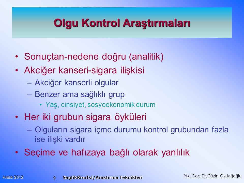 10 Aralık 2012 SaglikKrmIsl/Arastırma Teknikleri Yrd.Doç.Dr.Güzin Özdağoğlu