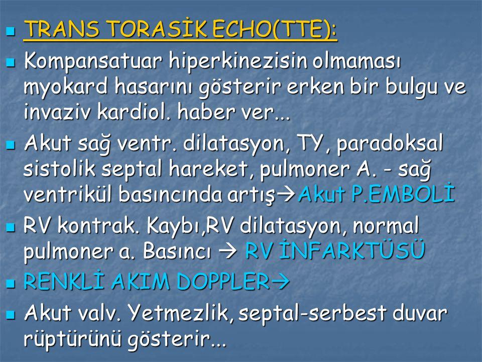 TRANS TORASİK ECHO(TTE): TRANS TORASİK ECHO(TTE): Kompansatuar hiperkinezisin olmaması myokard hasarını gösterir erken bir bulgu ve invaziv kardiol. h