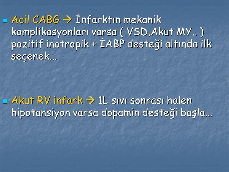 Acil CABG  İnfarktın mekanik komplikasyonları varsa ( VSD,Akut MY.. ) pozitif inotropik + İABP desteği altında ilk seçenek... Acil CABG  İnfarktın m