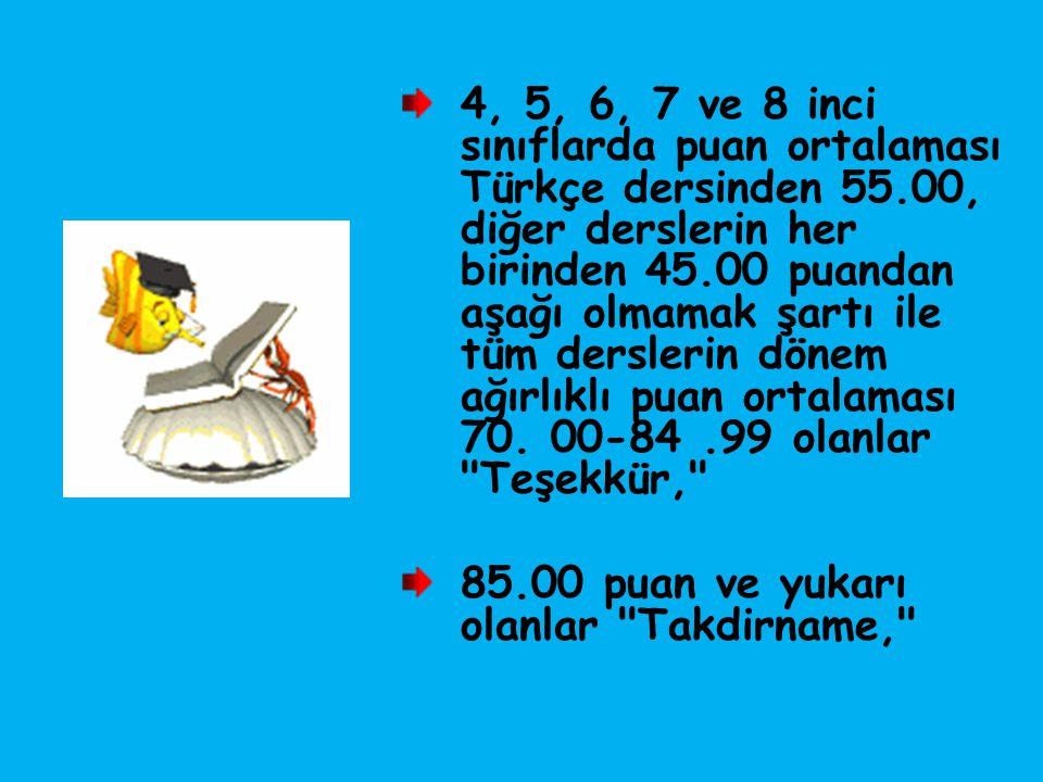 4, 5, 6, 7 ve 8 inci sınıflarda puan ortalaması Türkçe dersinden 55.00, diğer derslerin her birinden 45.00 puandan aşağı olmamak şartı ile tüm dersler