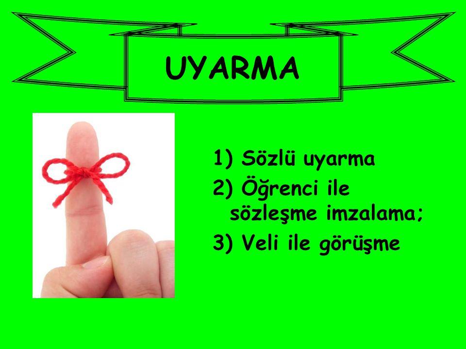 1) Sözlü uyarma 2) Öğrenci ile sözleşme imzalama; 3) Veli ile görüşme UYARMA