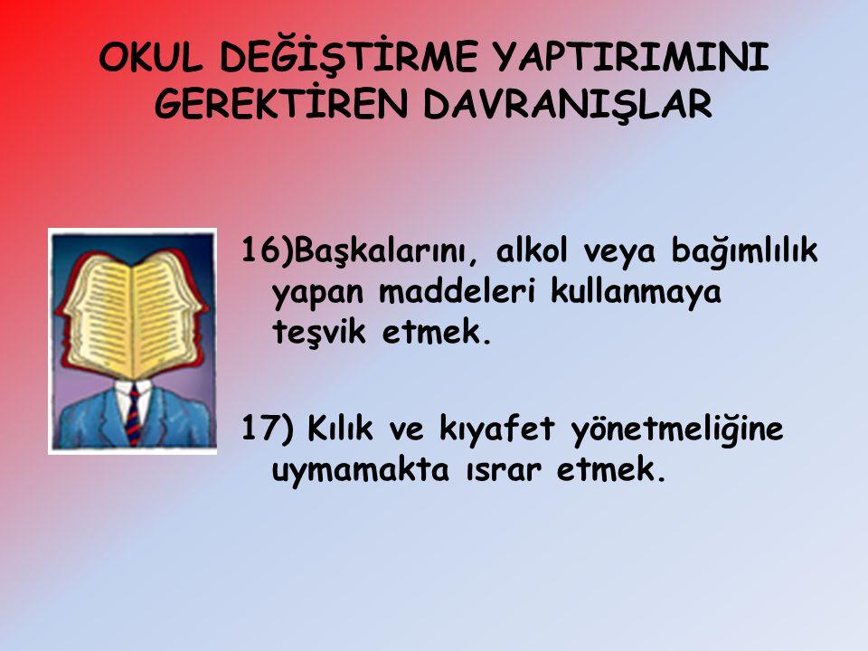 16)Başkalarını, alkol veya bağımlılık yapan maddeleri kullanmaya teşvik etmek. 17) Kılık ve kıyafet yönetmeliğine uymamakta ısrar etmek.