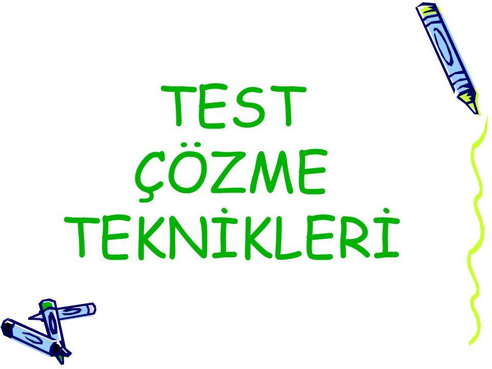 Her testte aynı zorluk ya da aynı kolaylık derecesine sahip sorular bulunmaz.