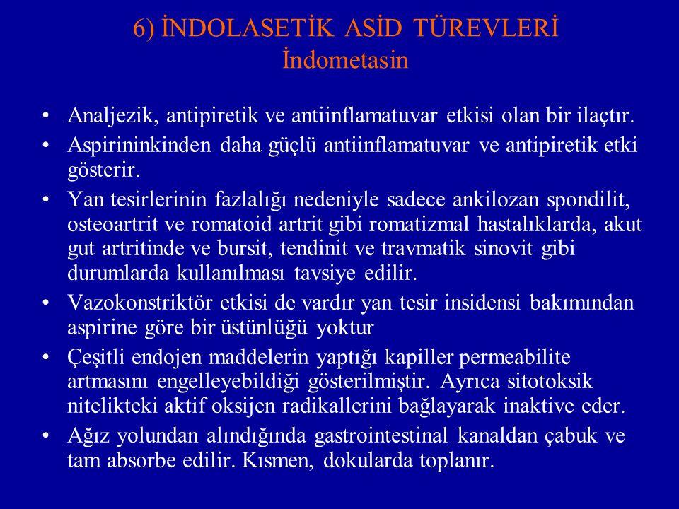 6) İNDOLASETİK ASİD TÜREVLERİ İndometasin Analjezik, antipiretik ve antiinflamatuvar etkisi olan bir ilaçtır. Aspirininkinden daha güçlü antiinflamatu