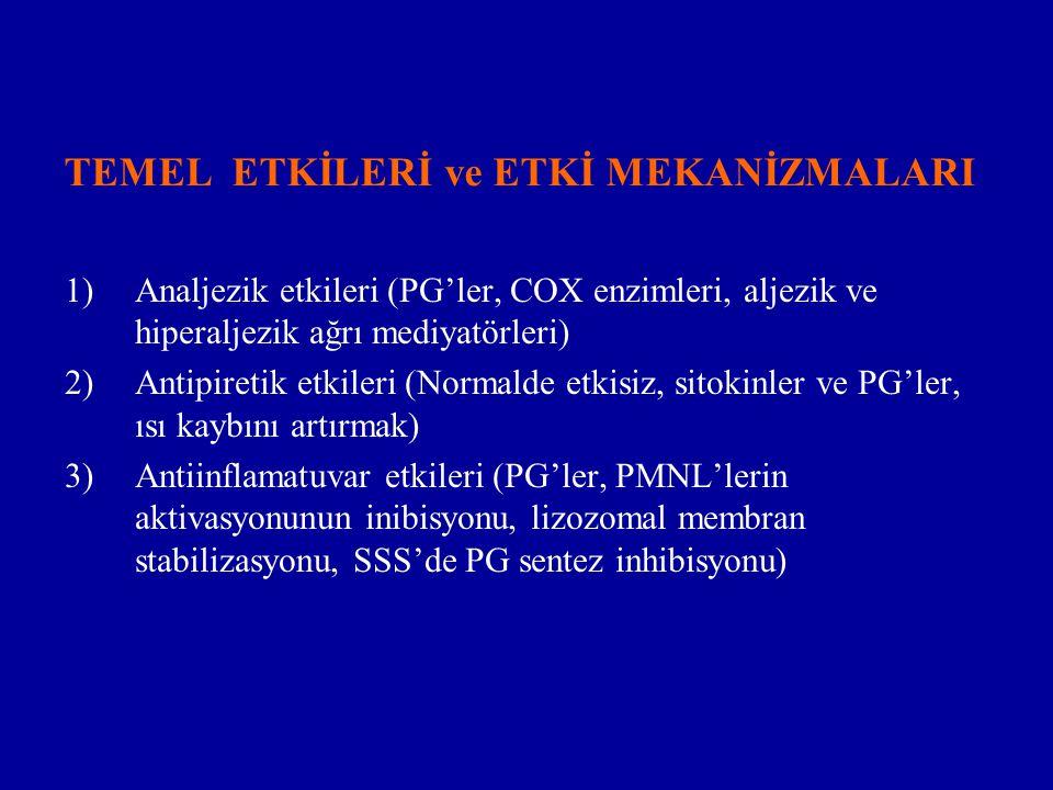 TEMEL ETKİLERİ ve ETKİ MEKANİZMALARI 1)Analjezik etkileri (PG'ler, COX enzimleri, aljezik ve hiperaljezik ağrı mediyatörleri) 2)Antipiretik etkileri (