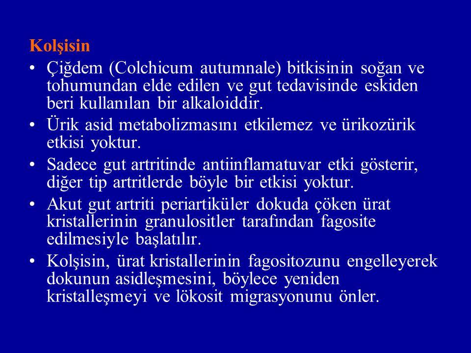 Kolşisin Çiğdem (Colchicum autumnale) bitkisinin soğan ve tohumundan elde edilen ve gut tedavisinde eskiden beri kullanılan bir alkaloiddir. Ürik asid