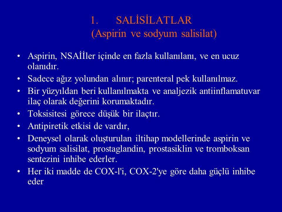 1.SALİSİLATLAR (Aspirin ve sodyum salisilat) Aspirin, NSAİİler içinde en fazla kullanılanı, ve en ucuz olanıdır. Sadece ağız yolundan alınır; parenter