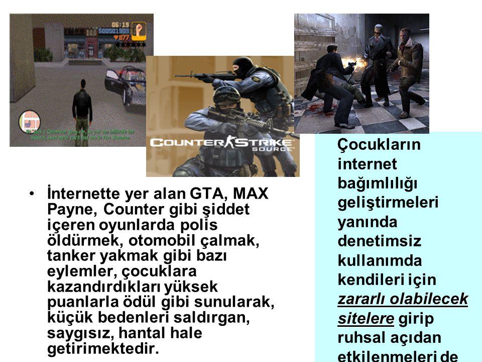 İnternette yer alan GTA, MAX Payne, Counter gibi şiddet içeren oyunlarda polis öldürmek, otomobil çalmak, tanker yakmak gibi bazı eylemler, çocuklara