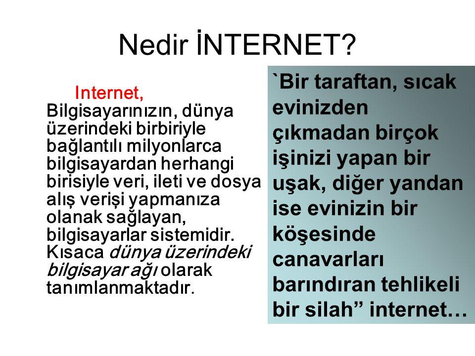 Nedir İNTERNET? Internet, Bilgisayarınızın, dünya üzerindeki birbiriyle bağlantılı milyonlarca bilgisayardan herhangi birisiyle veri, ileti ve dosya a