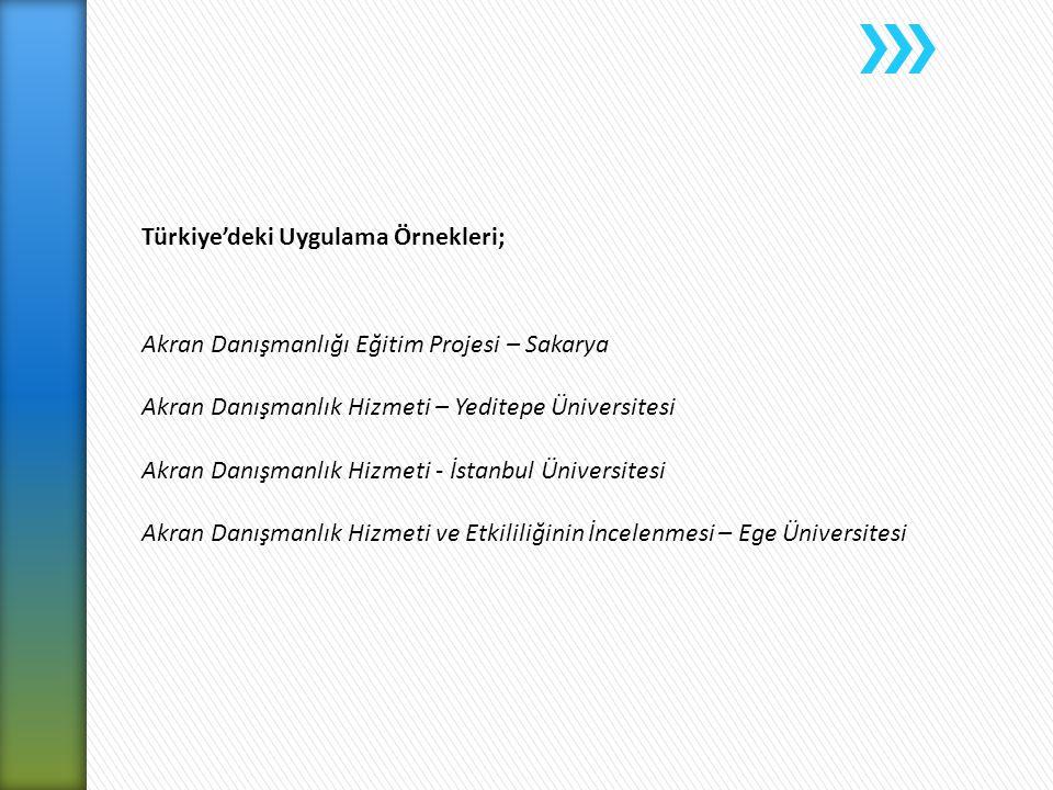 Türkiye'deki Uygulama Örnekleri; Akran Danışmanlığı Eğitim Projesi – Sakarya Akran Danışmanlık Hizmeti – Yeditepe Üniversitesi Akran Danışmanlık Hizme