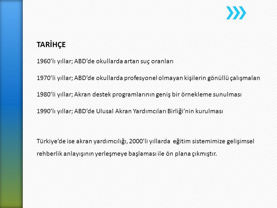 TARİHÇE 1960'lı yıllar; ABD'de okullarda artan suç oranları 1970'li yıllar; ABD'de okullarda profesyonel olmayan kişilerin gönüllü çalışmaları 1980'li yıllar; Akran destek programlarının geniş bir örnekleme sunulması 1990'lı yıllar; ABD'de Ulusal Akran Yardımcıları Birliği'nin kurulması Türkiye'de ise akran yardımcılığı, 2000'li yıllarda eğitim sistemimize gelişimsel rehberlik anlayışının yerleşmeye başlaması ile ön plana çıkmıştır.