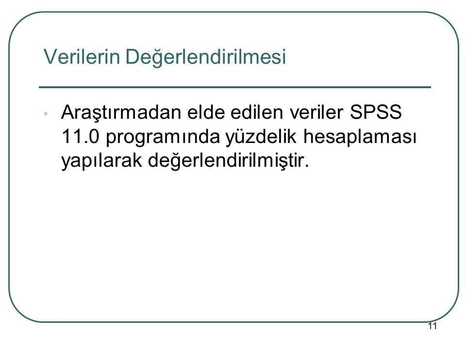 Verilerin Değerlendirilmesi Araştırmadan elde edilen veriler SPSS 11.0 programında yüzdelik hesaplaması yapılarak değerlendirilmiştir. 11