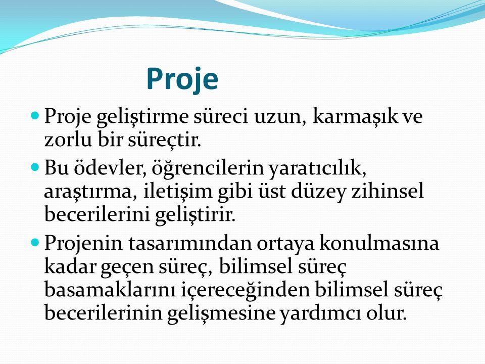 Proje Proje geliştirme süreci uzun, karmaşık ve zorlu bir süreçtir. Bu ödevler, öğrencilerin yaratıcılık, araştırma, iletişim gibi üst düzey zihinsel
