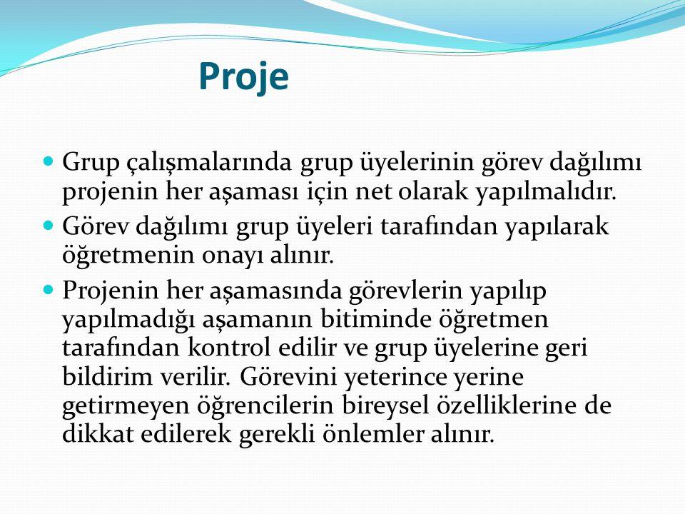 Proje Grup çalışmalarında grup üyelerinin görev dağılımı projenin her aşaması için net olarak yapılmalıdır. Görev dağılımı grup üyeleri tarafından yap
