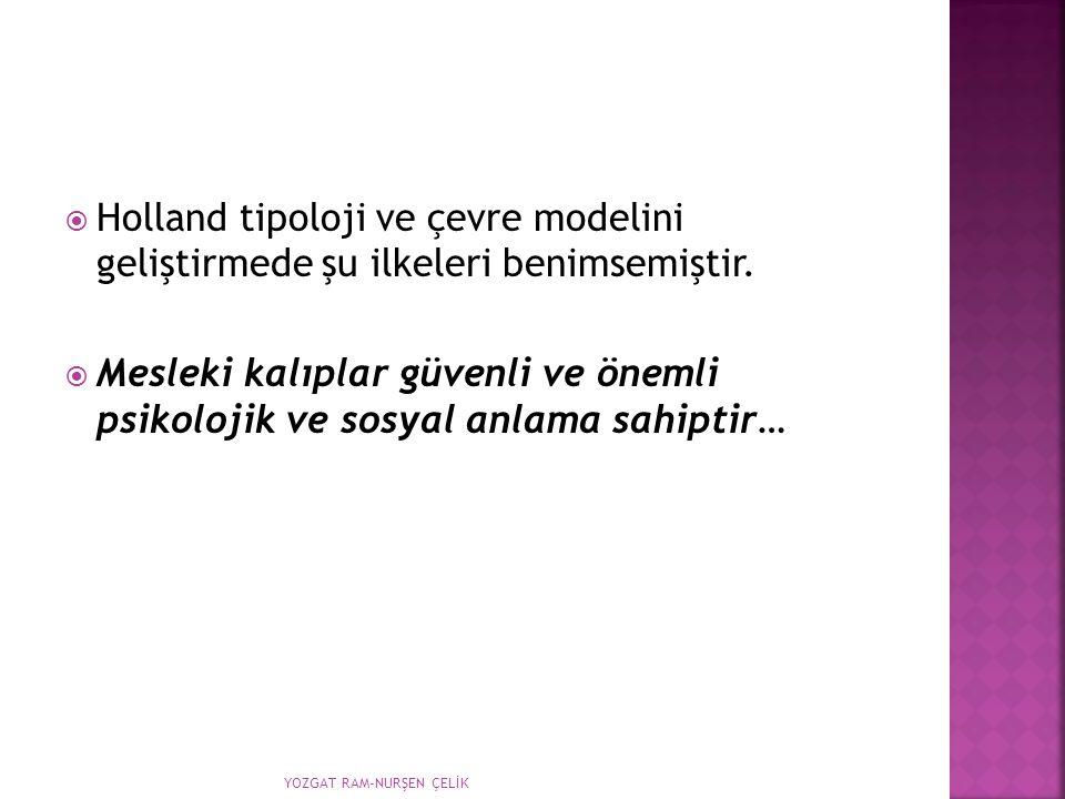  Holland tipoloji ve çevre modelini geliştirmede şu ilkeleri benimsemiştir.  Mesleki kalıplar güvenli ve önemli psikolojik ve sosyal anlama sahiptir