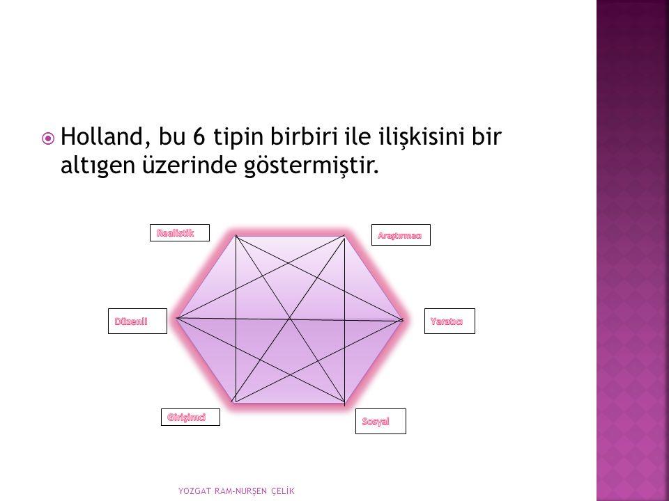  Holland, bu 6 tipin birbiri ile ilişkisini bir altıgen üzerinde göstermiştir. YOZGAT RAM-NURŞEN ÇELİK