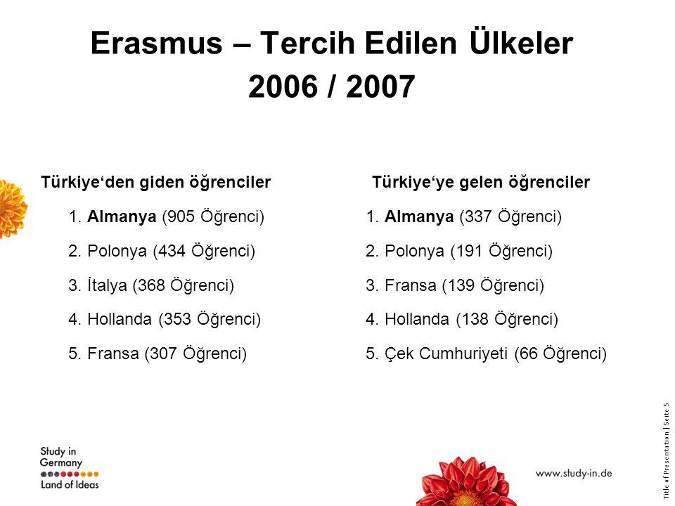 Title of Presentation | Seite 5 Erasmus – Tercih Edilen Ülkeler 2006 / 2007 Türkiye'den giden öğrenciler 1. Almanya (905 Öğrenci) 2. Polonya (434 Öğre
