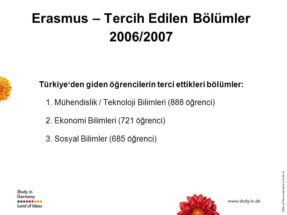 Title of Presentation | Seite 6 Erasmus – Tercih Edilen Bölümler 2006/2007 Türkiye'den giden öğrencilerin terci ettikleri bölümler: 1. Mühendislik / T