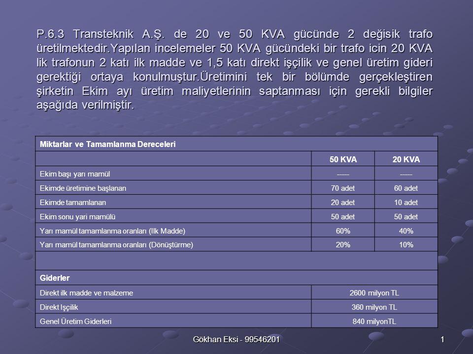 Gökhan Eksi - 99546201 1 P.6.3 Transteknik A.Ş.