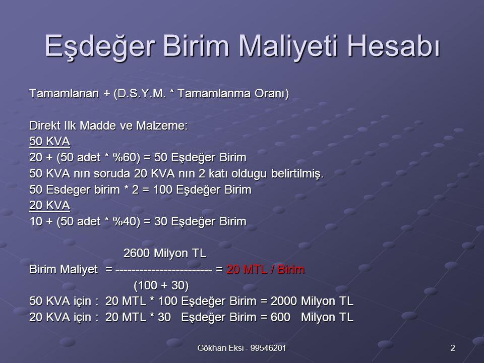 3Gökhan Eksi - 99546201 Eşdeğer Birim Maliyeti Hesabı Direkt Işçilik: 50 KVA 20 + (50 adet * %20) = 30 Eşdeğer Birim 50 KVA nın soruda 20 KVA nın 1,5 kati oldugu belirtilmiş.